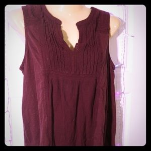 🍀LUCY BRAND V-Neck Embroidered Tank Maroon